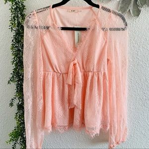 NWT Miami by Francesca's pink lace blouse